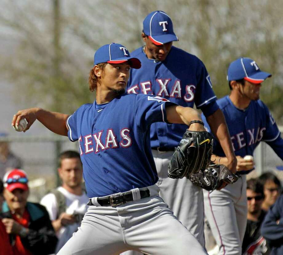Rangers right-hander Yu Darvish will take part in an intrasquad game Friday. Photo: AP