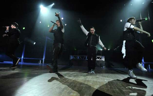From left, James Maslow, Logan Henderson, Carlos Pena, Jr. and Kendall Schmidt of Big Time Rush perform to a sold out audience at the Palace Theatre Tuesday, Feb. 28, 2012 in Albany, N.Y.  (Lori Van Buren / Times Union) Photo: Lori Van Buren