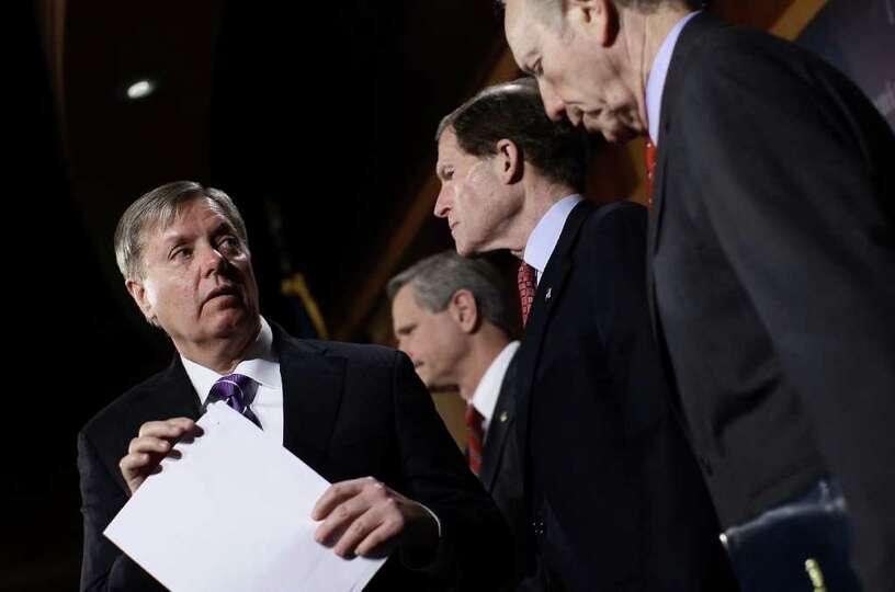 (L-R) U.S. Sen. Lindsey Graham (R-SC), U.S. Sen. John Hoeven (R-N.D.), U.S. Sen. Richard Blumenthal