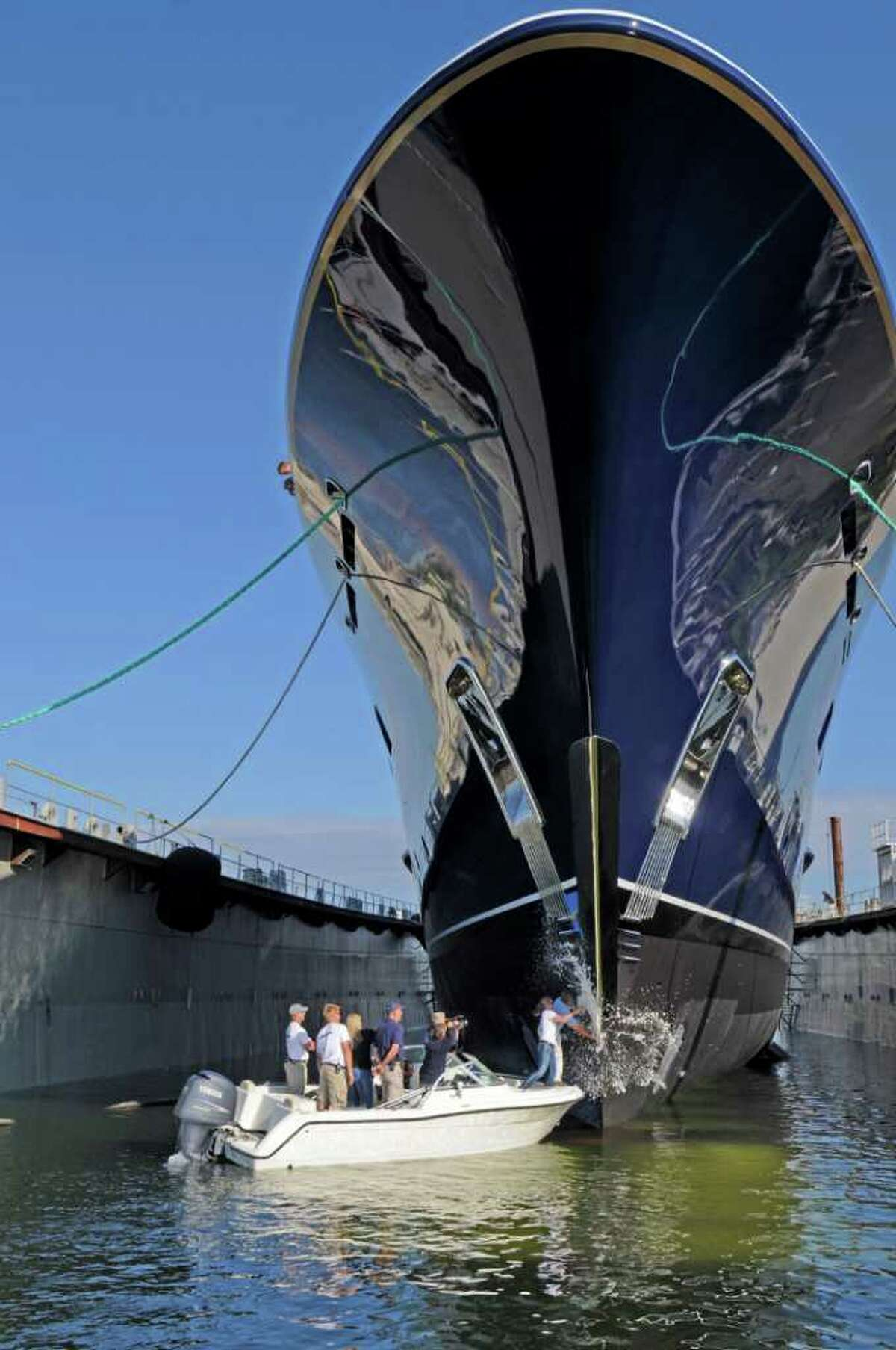 The Cakewalk, Derecktor's signature the yacht, appears in this file photo. The yacht builder that has gone bankrupt twice in Connecticut will probably be finished in Bridgeport amid eviction from its facility there, a $1.77 million lien on its equipment, and another bankruptcy filing in New York.