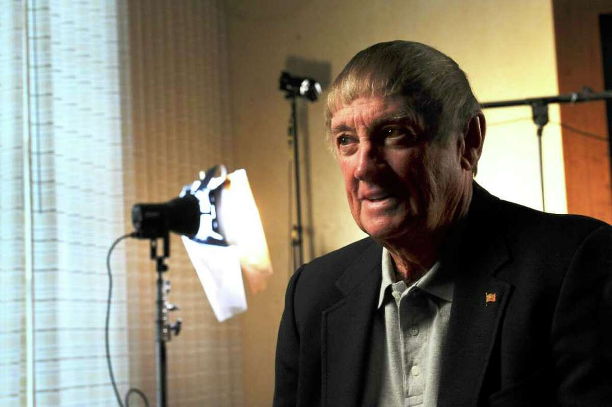 Tom Harrington, a Cos Cob resident and former NCAA referee, sits for a CBS Sports interview at Greenwich Hyatt Regency Wednesday, Feb. 29, 2012.