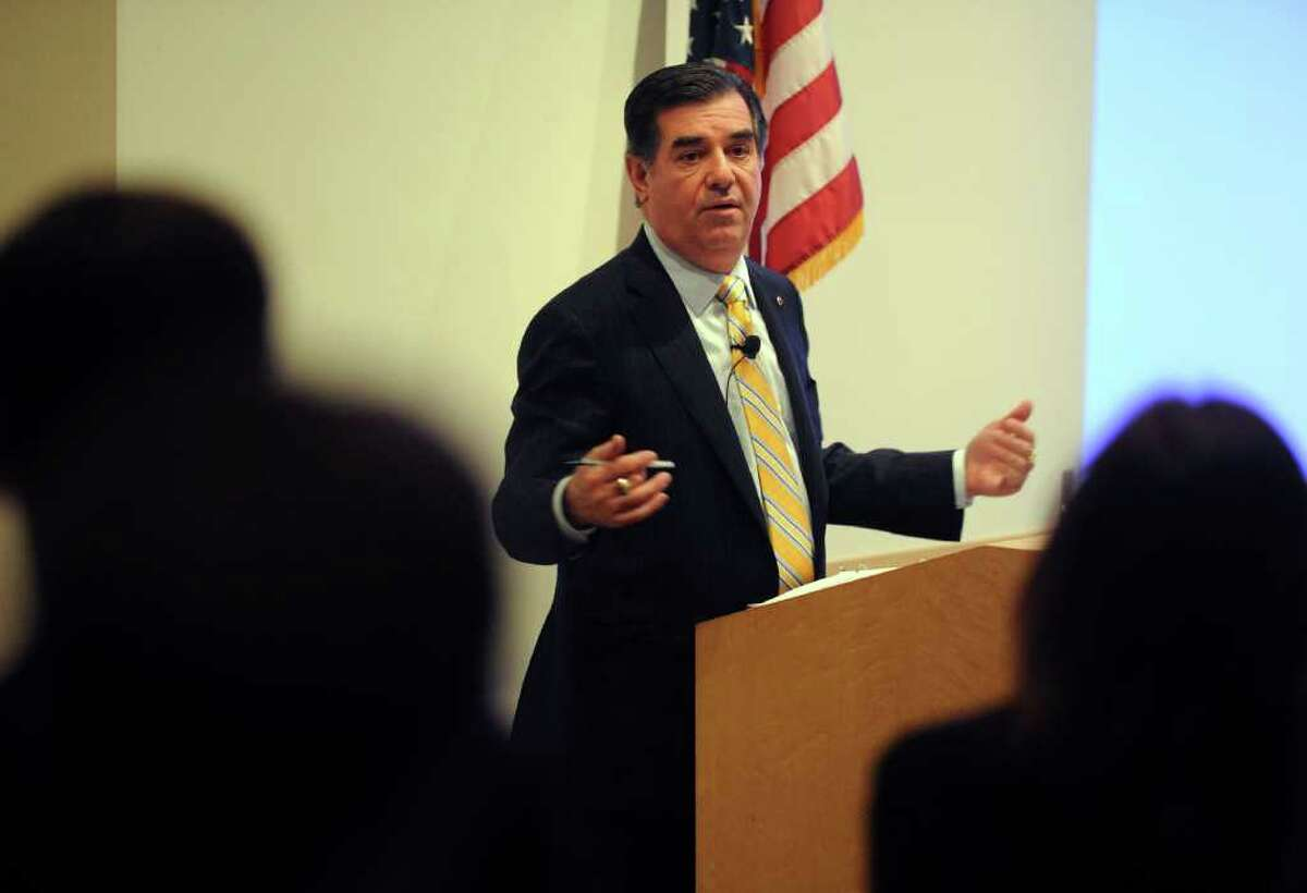 Stamford Mayor Michael Pavia talks about his sustainability initiatives and challenges during SoundWaters Business & Environment Series Wednesday, February 29, 2012 at Purdue Pharma in Stamford, Conn.