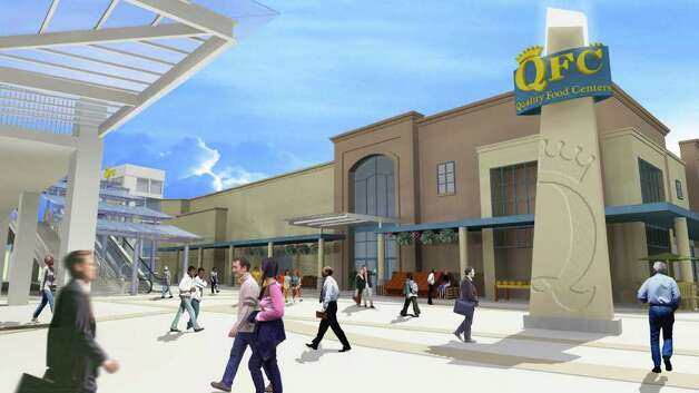 QFC envisions a wide, open-air pedestrian plaza at its main north entrance, between the proposed parking structure and store. Photo: QFC And MulvannyG2 Architecture,  Via City Of Seattle.