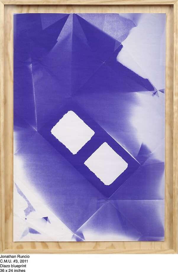 "Jonathan Runcio's ""C.M.U. #3"" (2011), Diazo blueprint Photo: Ratio 3"