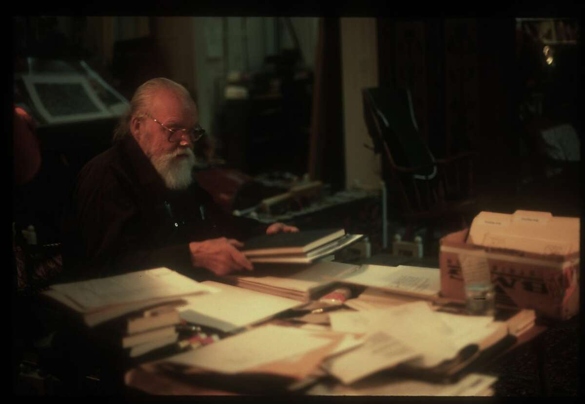 Lou Harrison in his studio in Aptos