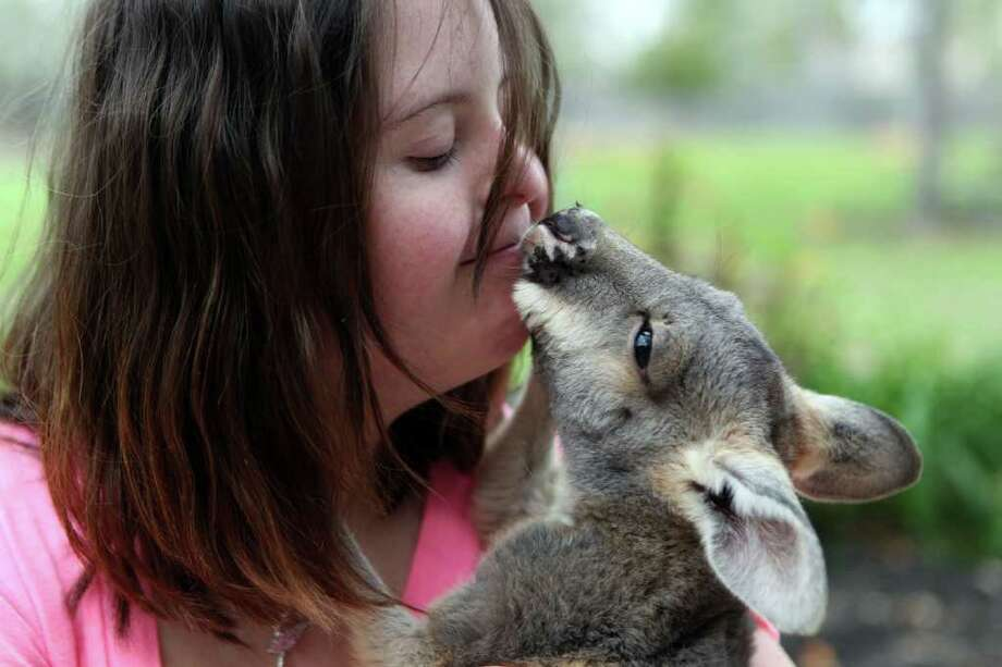 Kayla Dreis, 16, who has Down's Syndrome, gets a kiss from her 6-month out-of-pouch kangaroo named Mike. Photo: Johnny Hanson, Houston Chronicle / © 2012  Houston Chronicle