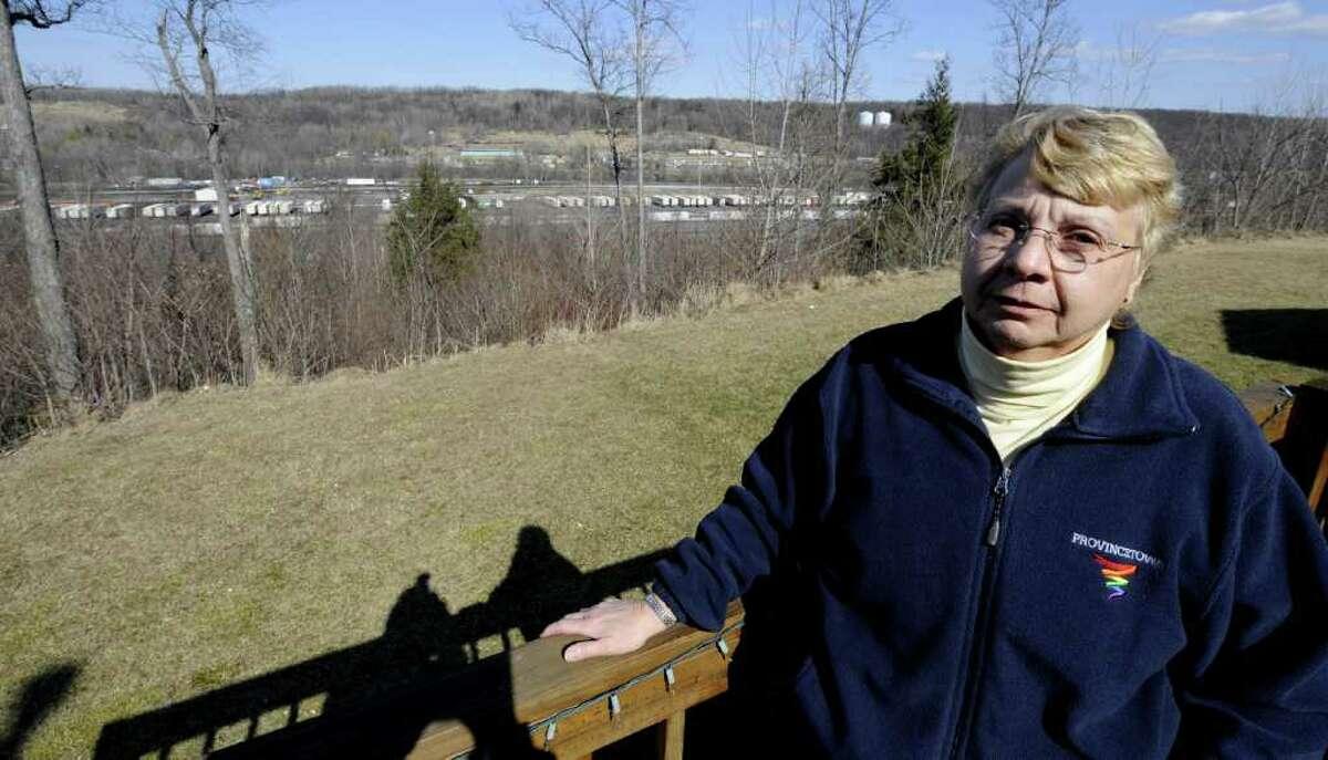 Jeanette Anglin outside her residence in Halfmoon, N.Y. Feb. 28, 2012. ( Skip Dickstein / Times Union)