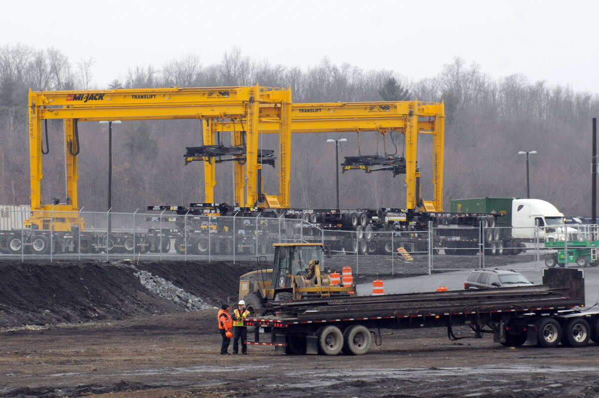 Neighbors are asking the owners of the new intermodal railyard in Halfmoon and Mechanicville to find ways to minimize noise created by the constant coming and going of trains and the unloading of cargo. (Photo by Michael Farrell / Times Union)