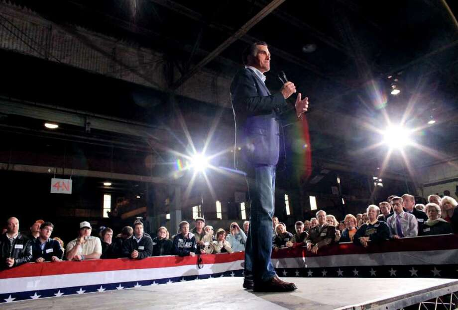 Former Massachusetts Gov. Mitt Romney, a candidate for the Republican presidential nomination, speaks at a rally at American Posts in Toledo, Ohio, Feb. 29, 2012. Speaking to a modest-sized group of less than 100 people Romney briefly acknowledged his primary victories before criticizing President Barack Obama. Photo: YANA PASKOVA, New York Times / NYTNS