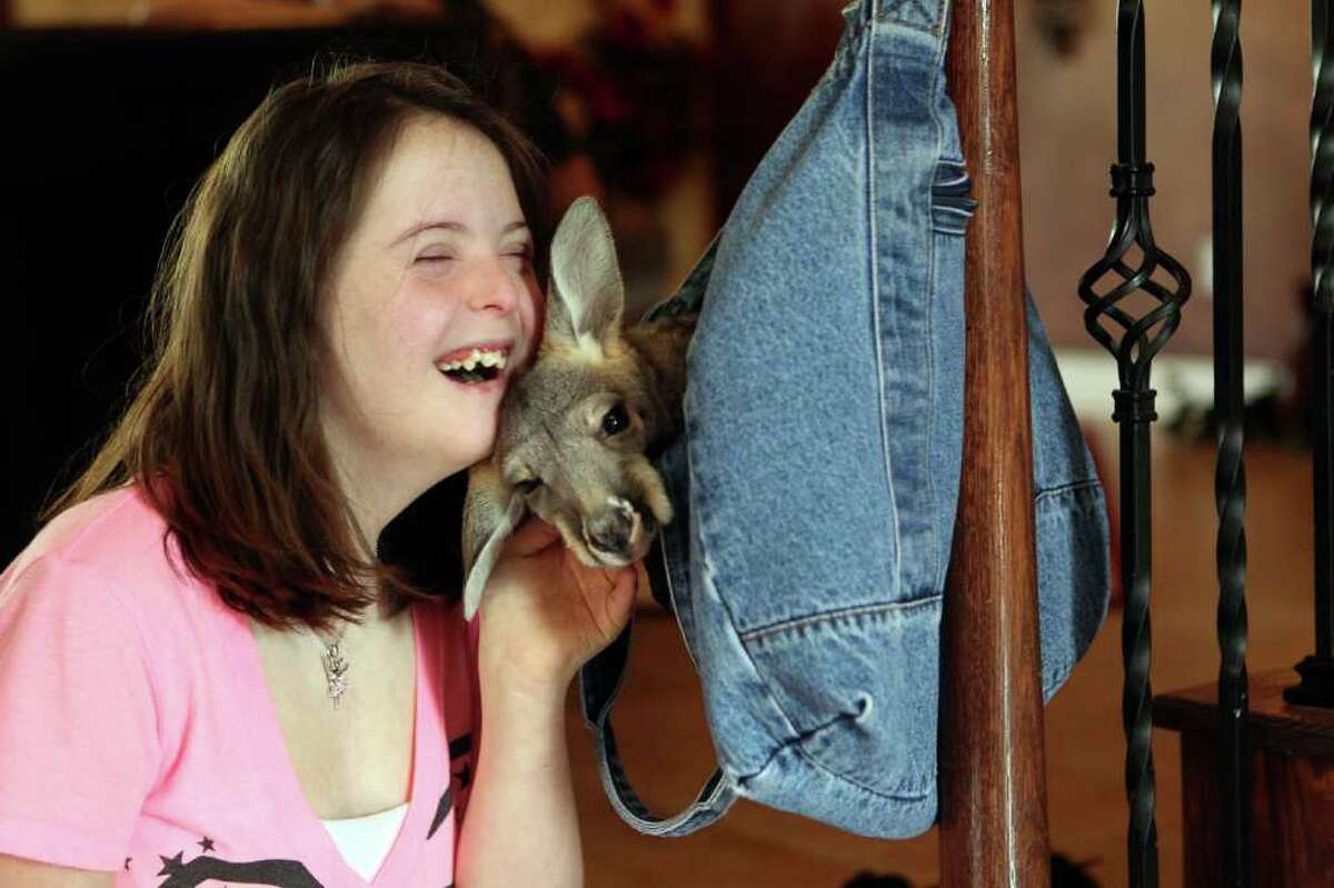 """Kala Dries, 16, who has Down Syndrome, holds her 6-month out-of-pouch kangaroo named Mike at her parents home Wednesday, Feb. 29, 2012, in Spring. ( Johnny Hanson / Houston Chronicle ) The Estates of Legends Ranch HOA sent the Dries family a letter saying they are violating the deed restrictions by having the kangaroo, a non-domestic animal, at their home and to, """"Please immediately remove the kangaroo from your property as it is not a household pet nor can it be maintained for business purposes."""" Kala's parents, Jeni and Nick Dreis, are currently in the process of creating a wildlife preserve, organic farm and education center in Conroe to serve special needs children. Mike, once large enough, will live there, Jeni said. Jeni said the center will provide holistic health for their daughter as well as a way to give special needs children a way to learn life skills."""