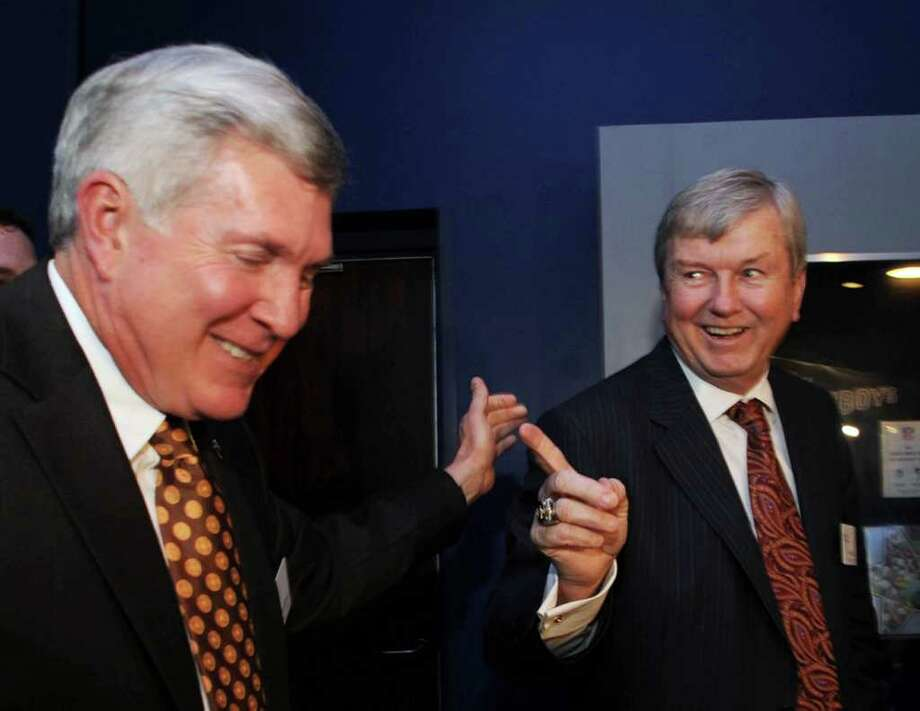 Texas A&M women's basketball coach Gary Blair, right, laughs with Texas football coach Mack Brown, left, at a reception before the induction for the 2012 class of the Texas Sports Hall of Fame, Wednesday, Feb. 29, 2012, in Waco, Texas. (AP Photo/Waco Tribune Herald, Rod Aydelotte) Photo: Rod Aydelotte, Associated Press / Waco Tribune Herald
