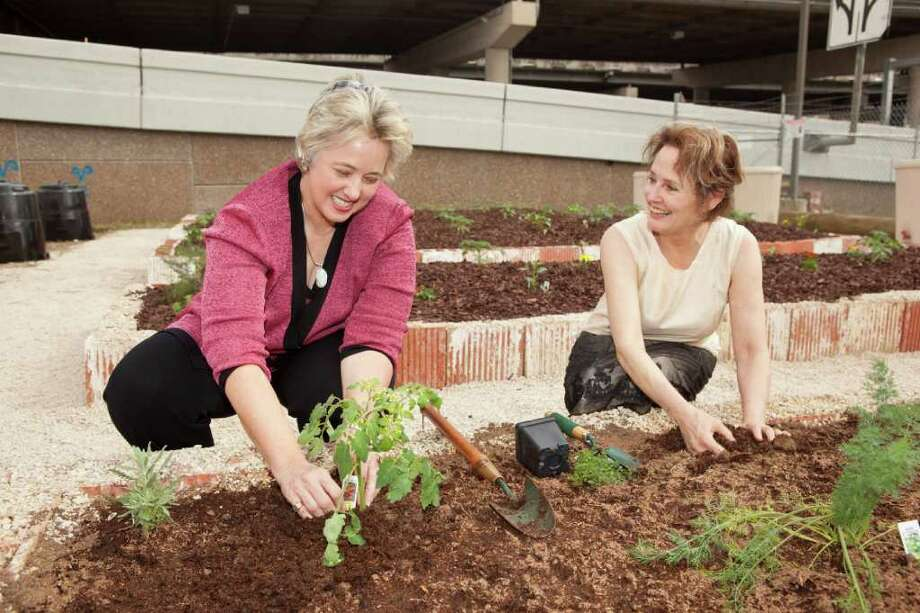 Author, restaurateur and local food movement pioneer Alice Waters, right, joins Houston Mayor Annise Parker on Wednesday to dedicate a new community garden at the Houston Permitting Center at 1002 Washington. Photo: Bruce Bennett / Houston Chronicle