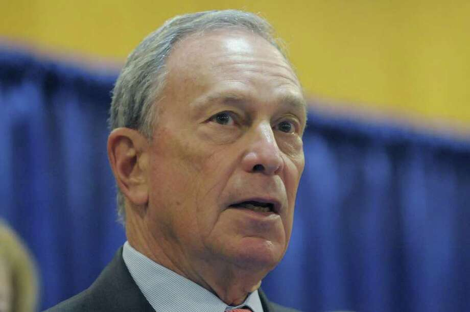 New York City Mayor Michael Bloomberg addresses those gathered for a press conference on Wednesday, Feb. 29, 2012 in Albany, NY.  Bloomberg was at the capitol on Wednesday along with a coalition of mayors and county executives from around the state to talk to legislators and show support for Governor Andrew Cuomo's pension reform ideas.  (Paul Buckowski / Times Union) Photo: Paul Buckowski