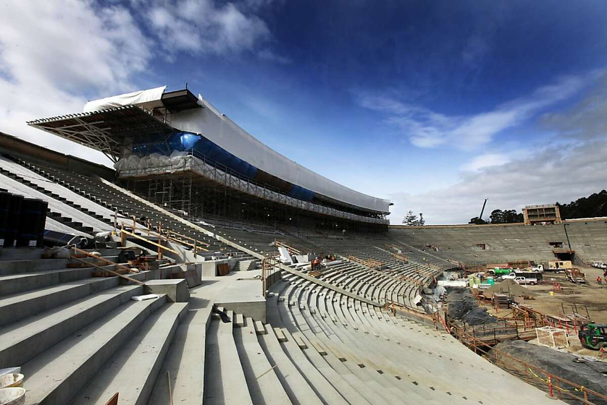 Ironworkers continue to work on the interior of the Press box and luxury suites as construction on the University of California Memorial Stadium continues Tuesday February 28, 2012