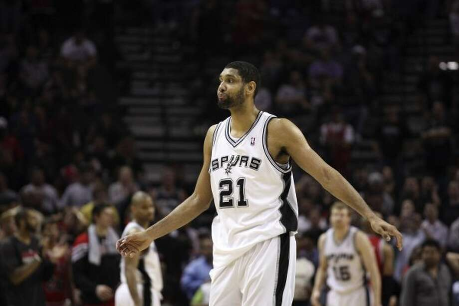SPURS --  San Antonio Spurs Tim Duncan walks back to the bench after missing the second three-pointer in a row late in the fourth quarter against the Chicago Bulls, at the AT&T Center, Wednesday, Feb. 29, 2012. The Bulls won 96-89. Jerry Lara/San Antonio Express-News (San Antonio Express-News)