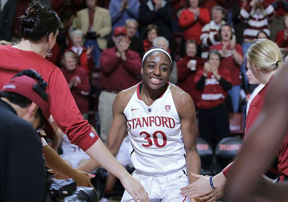 Stanford forward Nnemkadi Ogwumike (30) heads onto the court during player introductions for an NCAA college basketball game agianst Seattle--her last home game--in Stanford, Calif., Wednesday, Feb. 29. 2012. Photo: Paul Sakuma, Associated Press