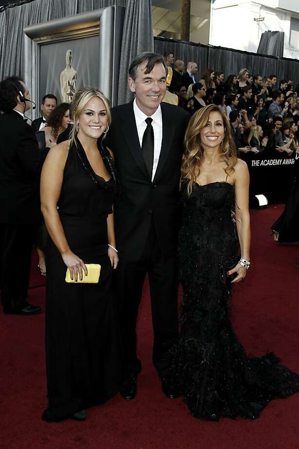 Billy Beane, center, and guests arrive before the 84th Academy Awards on Sunday, Feb. 26, 2012, in the Hollywood section of Los Angeles. (AP Photo/Matt Sayles) Photo: Matt Sayles, Associated Press