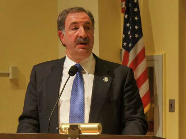 State Rep. Jonathan Steinberg, D-Westport, addresses a forum Wednesday on the education reforms proposed by Gov. Dannel Malloy. Photo: Paul Schott / Westport News