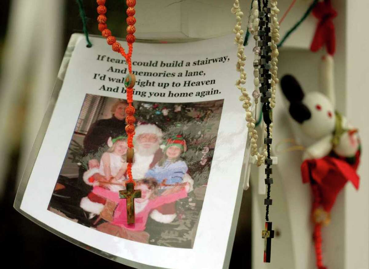 The memorial to the victims of the fatal Christmas morning fire at 2267 Shippan Ave. in Stamford, Conn. continues to grow as funeral for the three young daughters of Madonna and Matthew Badger was held in New York City on Thursday, Jan. 5, 2012.