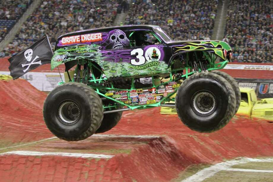 Meet your doom: Randy Brown, who drives Grave Digger, will be among the  Monster Jam Monster Truck Racing stars rolling into Webster Bank Arena at Harbor Yard in Bridgeport on Sunday, March 4. Photo: Contributed Photo / Connecticut Post Contributed