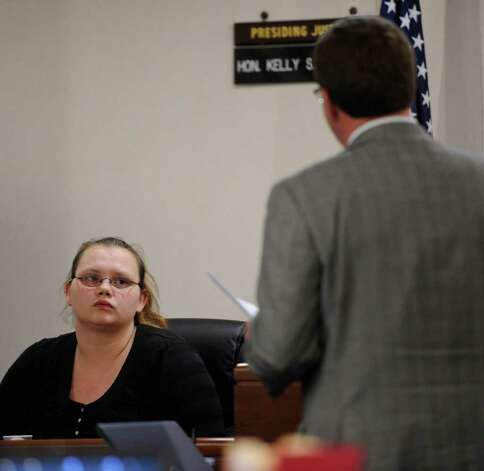 Loretta Colegrove is cross-examined by Washington County Public Defender Michael Mercure during the trial of Matthew Slocum, her boyfriend, in Washington County Court in Fort Edward, N.Y. March 1, 2012.    (Skip Dickstein / Times Union) Photo: SKIP DICKSTEIN / 2011