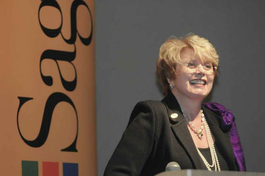 Donna Esteves, a 1970 Russell Sage graduate and chairwoman of the board of trustees, addresses those gathered during an event at The Sage Colleges Albany campus on Thursday, March 1, 2012 in Albany, NY.  Esteves gave $10 million  to the school, with a portion being dedicated to the education school.  In honor of her gift, the School of Education will be named the Esteves School of Education.   (Paul Buckowski / Times Union) Photo: Paul Buckowski