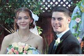 IRAQ01_SOLDIER_010_MJM.jpg  Copy of a photo of Adam Estep and his wife Demara on their wedding day, February 28 of this year.  Latest local casualty in the Iraq war is Army Sgt. Adam Estep. His father, Ken Estep of Campbell sat in the shade of his front yard comforted by family and friends who stopped by to offer condolences this afternoon. Ken Estep learned just yesterday afternoon of his son's death.  Estep family photo. MANDATORY CREDIT FOR PHOTOG AND SF CHRONICLE/NO SALES-MAGS OUT