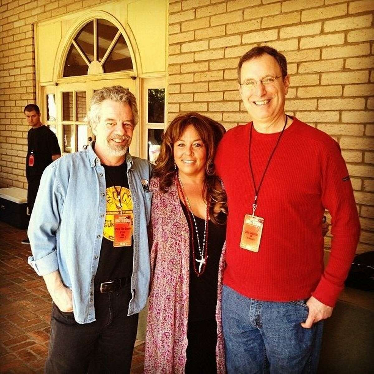 At Sunset Sessions, left to right: DJ Zeb Norris (formerly of KSJO, now with WNCS in Vermont), event producer Michele Clark, and Cumulus Media's Dennis Constantine.
