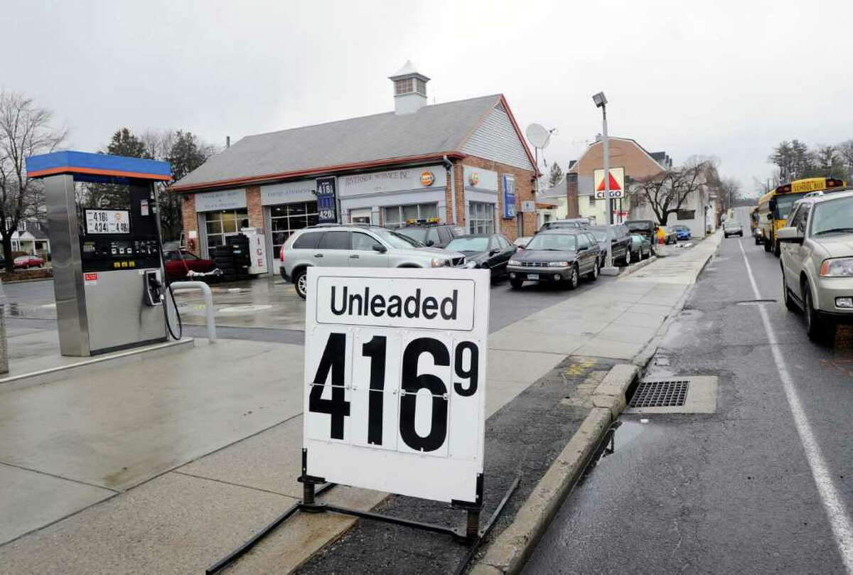 Regular gas advertised for $4.16 in front of the Riverside Service station at 370 E. Putnam Ave. in Cos Cob, Thursday afternoon March 1, 2012.