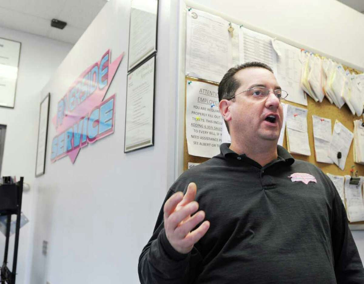 Albert Jagodzinski, owner of Riverside Service station at 370 E. Putnam Ave. in Cos Cob, speaks about gas prices Thursday afternoon March 1, 2012.
