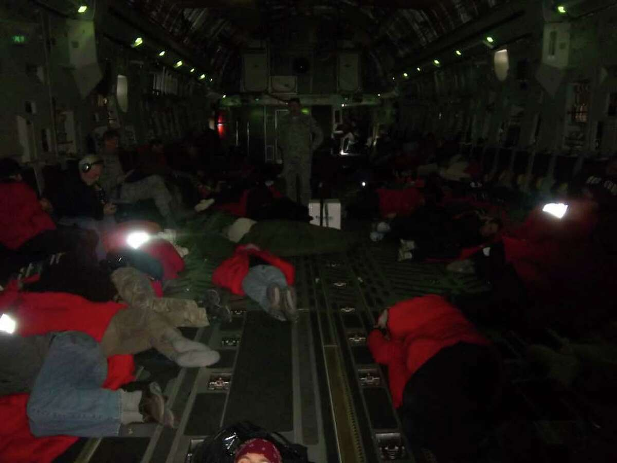 C-17 plane - 2 a.m. fight to New Zealand - sleeping more comfortable than commercial flight (Photo by Laura Von Rosk)