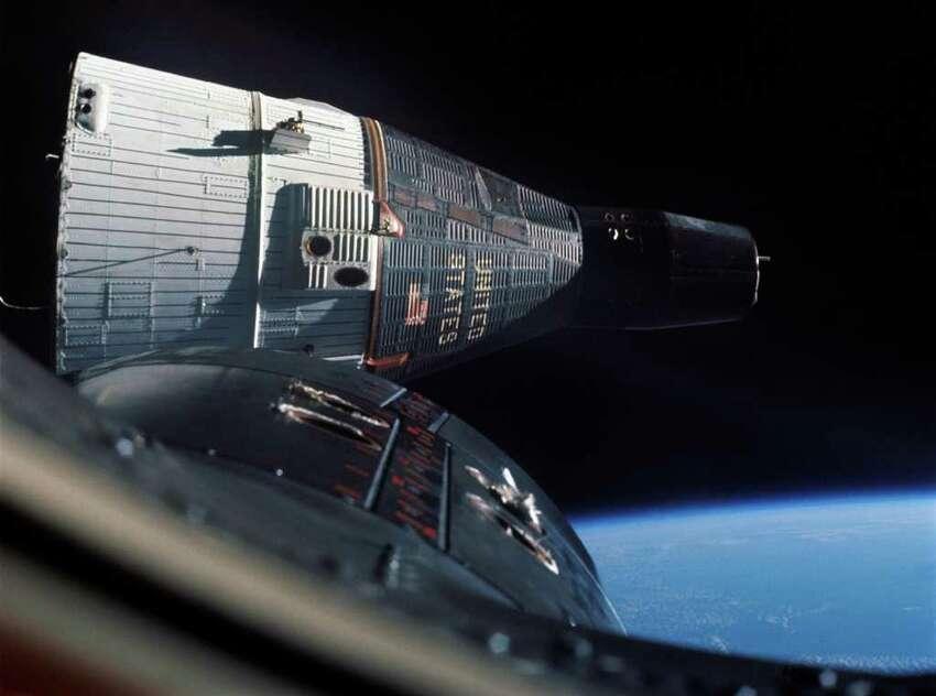 Astronauts Tom Stafford and Wally Schirra broadcast