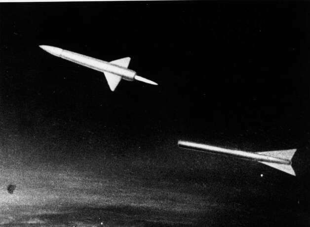 This still from a Russian film shows a fanciful space rocket being launched from an aircraft in 1957. Both the Soviets and Americans abandoned this approach in favor of pad-launched rockets. But modern commercial space companies have revived it. Photo: Keystone, Getty Images / Hulton Archive