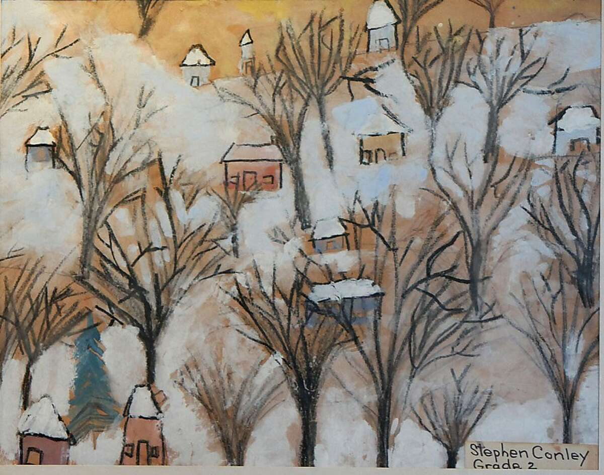 Painting of houses and trees by Stephen Conley, second grade