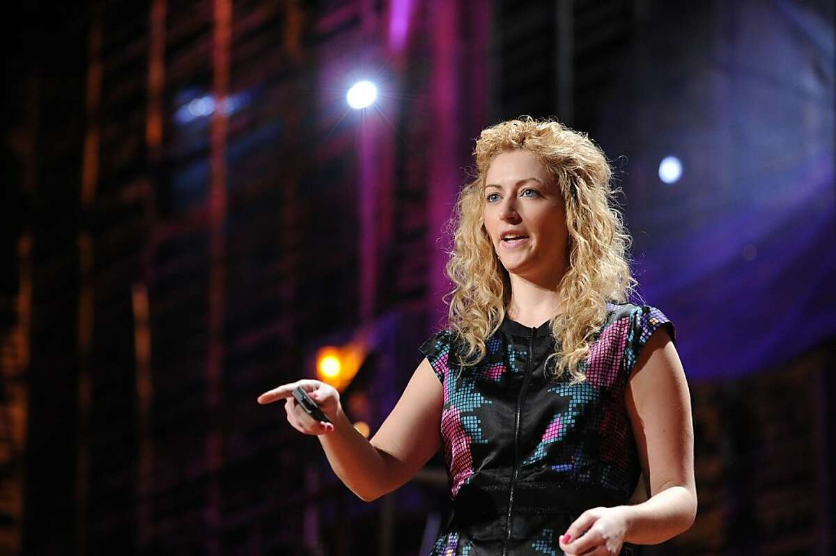 """Jane McGonigal at TED2010, Session 6, """"Invention,"""" Thursday, February 11, 2010, in Long Beach, California."""