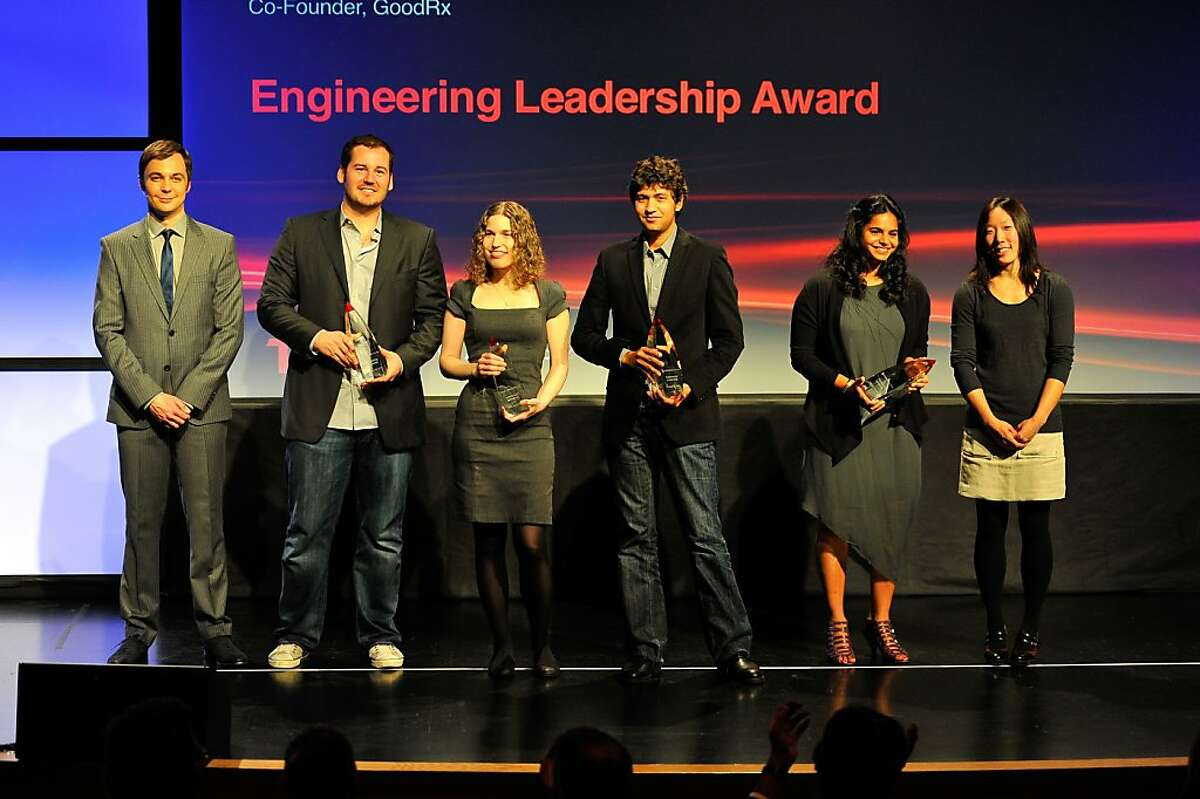 Host Jim Parsons (left) with the winners of the Engineering Leadership Award on Feb. 22 at SFMOMA.