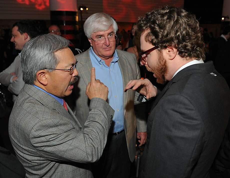 San Francisco Mayor Ed Lee (left) talks to Ron Conway and Sean Parker at the 2012 TechFellow Awards. He makes a point of meeting with local tech firms. Photo: Steve Jennings, Getty Images For Techfellows