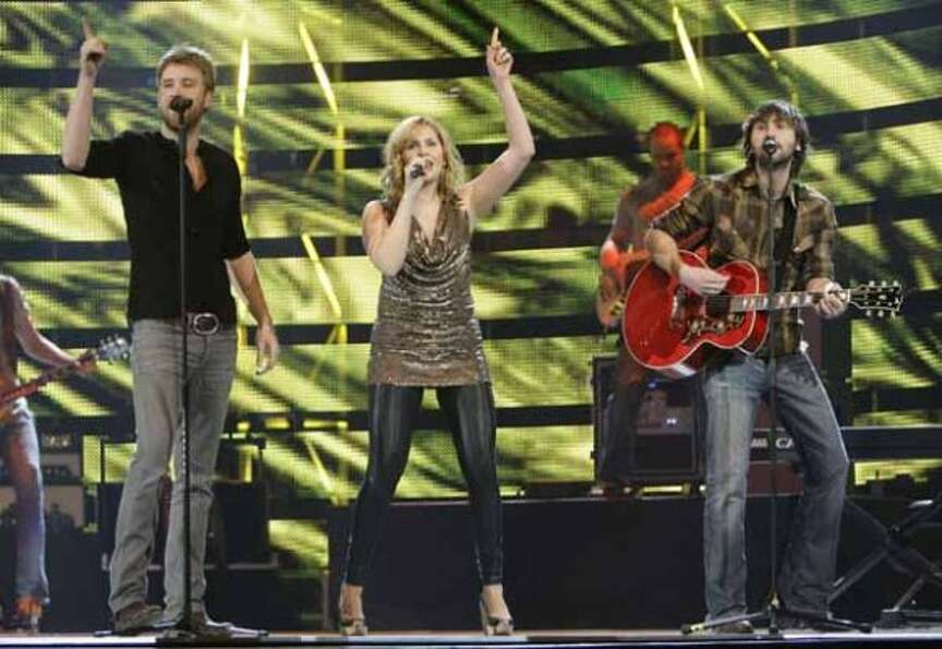 Charles Kelley, left, Hillary Scott, and Dave Haywood of Lady Antebellum perform March 9, 2009, at R