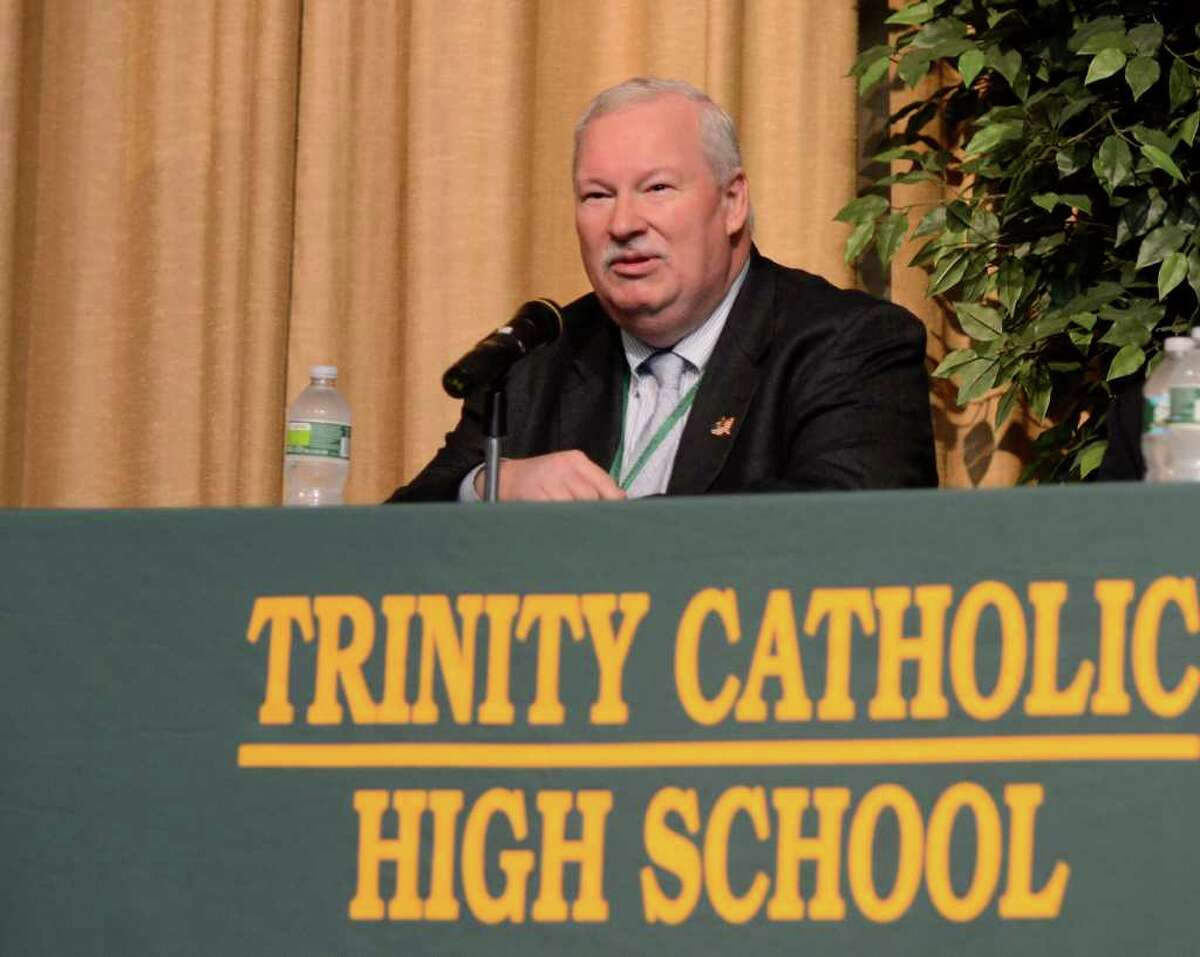 Dan Warzoha, who had been Greenwich fire chief during the September 11 terrorist attacks, speaks at an assembly on Thursday, September 29, 2011 at Trinity Catholic High School in Stamford, CT where students and staff heard from people directly affected by the September 11 terrorist attacks.