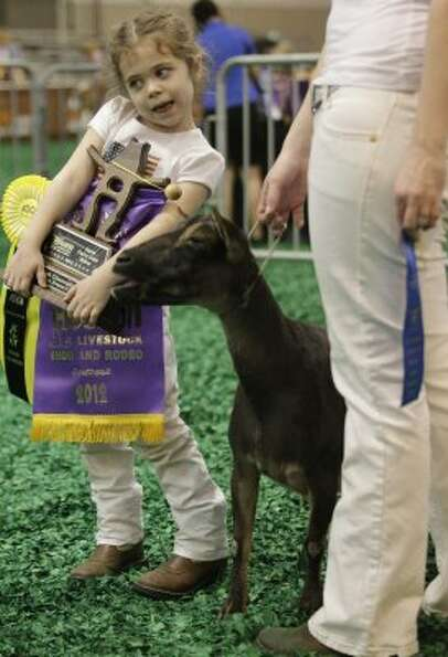 Kailyn Stewart, 6, of Grandview, Texas works to hold her Grand Champion banner and trophy as she wai