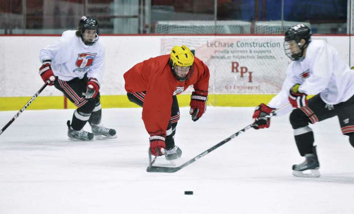 RPI men's hockey players practice at the Houston Field House in preparation for their upcoming ECAC playoff series on the road against Clarkson, on Wednesday afternoon Feb. 29, 2012 in Troy, N.Y. (Philip Kamrass / Times Union )