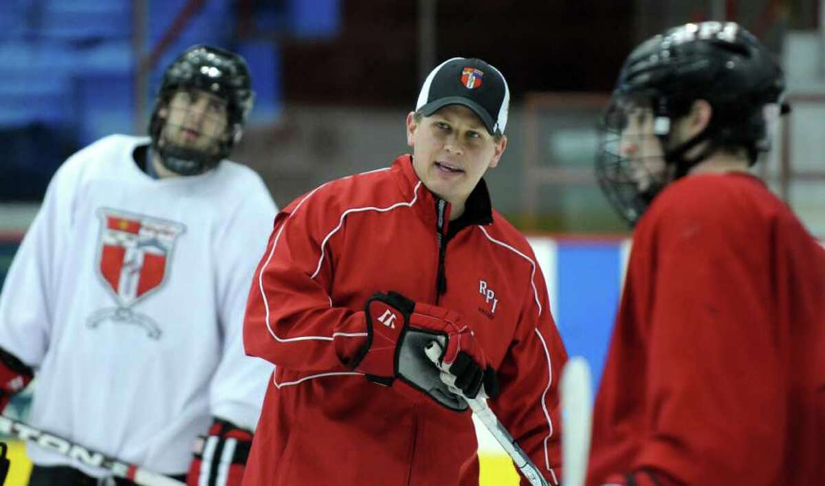 RPI men's hockey team head coach Seth Appert, center, leads his players in practice at the Houston Field House as they prepare for their upcoming ECAC playoff series on the road against Clarkson, on Wednesday afternoon Feb. 29, 2012 in Troy, N.Y. (Philip Kamrass / Times Union )