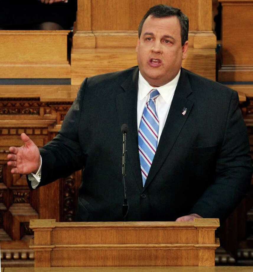 """FILE - In this Feb. 21, 2012 file photo, New Jersey Gov. Chris Christie  delivers his budget address in Trenton, N.J. Civil rights groups in the Northeast pressed Thursday, March 1, 2012,  for an investigation of the New York Police Department's secret surveillance of Muslims in the region, a day after New Jersey Gov. Chris Christie assailed the agency for having a """"masters of the universe"""" mentality and acting either out of arrogance or paranoia.(AP Photo/Mel Evans, File) Photo: Mel Evans"""