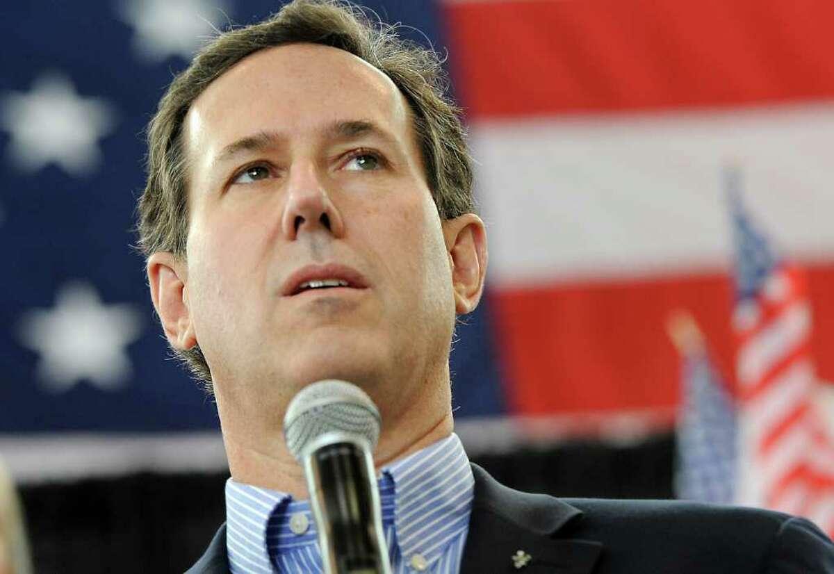 Republican presidential candidate, former Pennsylvania Sen. Rick Santorum speaks at Peachtree DeKalb Airport, Thursday, March 1 , 2012, in Chamblee. (AP Photo/John Amis)