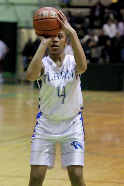 Emia Willingham-Hurst, of the Albany Lady Falcons, prepares to throw a free throw at the Class AA gi