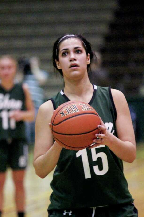 Alyssia Marsal, of the Shenendehowa Lady Plainsmen, prepares to throw a free throw at the Class AA girls' semifinals between Albany High School and Shenendehowa High School at Hudson Valley Community College, Troy, on Thursday, March 1, 2012. (Erin Colligan / Special To The Times Union)