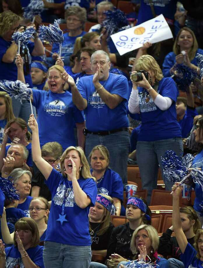 Barbers Hill supporters cheer their team against Mansfield Summit during first half action in a class 4A semifinal game during the UIL girls state basketball tournament at the Frank Erwin Center on Thursday, March 1, 2012, in Austin. Photo: Smiley N. Pool, Houston Chronicle / © 2012  Houston Chronicle