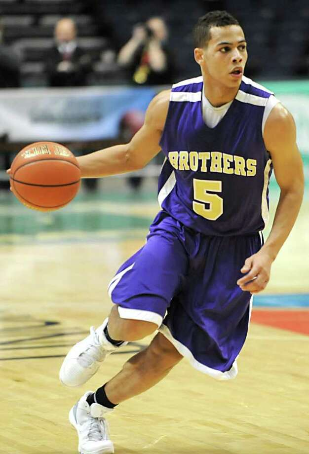 CBA's Christian Leppanen dribbles the ball during a basketball game against Bishop Maginn in the Class AA semifinals Thursday, March 1, 2012 in Albany, N.Y. (Lori Van Buren / Times Union) Photo: Lori Van Buren