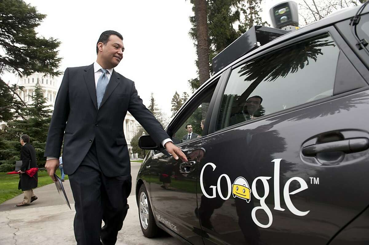 Sen. Alex Padilla (D-Pacoima) gets into Google's automous vehicle, a