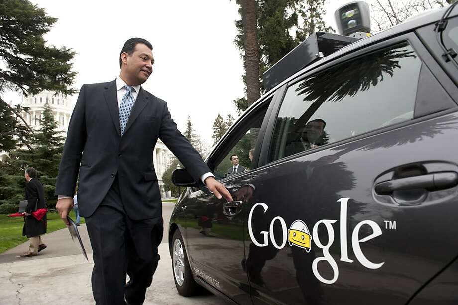 """Sen. Alex Padilla (D-Pacoima) gets into Google's automous vehicle, a """"self-driving"""" car, and rides up to the west steps of the Capitol, where he introduces Senate Bill 1298, which would establish guidelines for autonomous vehicles to be tested and operated in California during a press conference on the west steps of the Capitol March 1, 2012.  The car may potentially reduce traffic fatalities eliminating human error. Photo: Anne Chadwick Williams, Special To The Chronicle"""